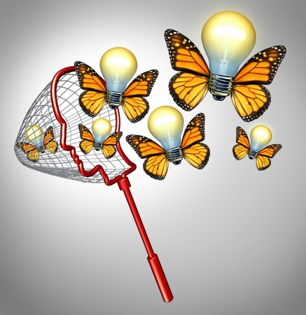 expertise concept: Gather ideas creativity concept with a butterfly net shaped as a human head collecting inovative solutions as a group of flying illuminated light bulbs with insect wings for business success
