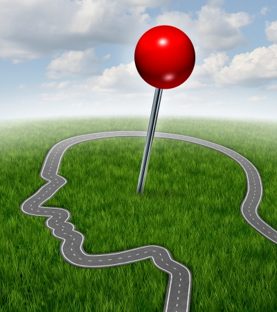 yourself: Personal goals and finding yourself as a life and business concept with a road or highway shaped as a human head and a red position pin located in the brain area as a symbol of career searchdirection success