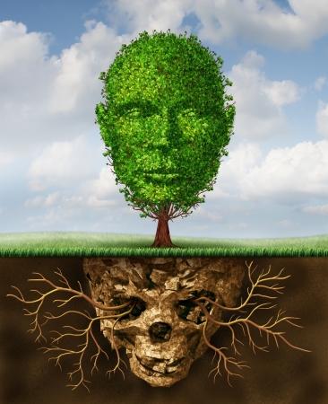 racines: Rebirth et le concept de mode de vie renouvellement comme un symbole de la deuxi�me chance et la croissance personnelle et la renaissance d'une crise comme un arbre en forme de t�te humaine en croissance de sol toxique en forme de t�te de mort Banque d'images