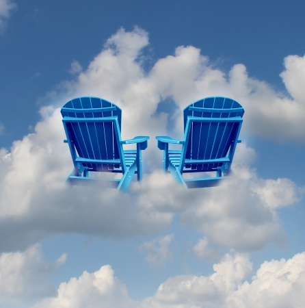 romance strategies: Retirement dreams and financial freedom planning symbol with two empty blue adirondack chairs floating on a cloud as a business concept of future successful investment strategy