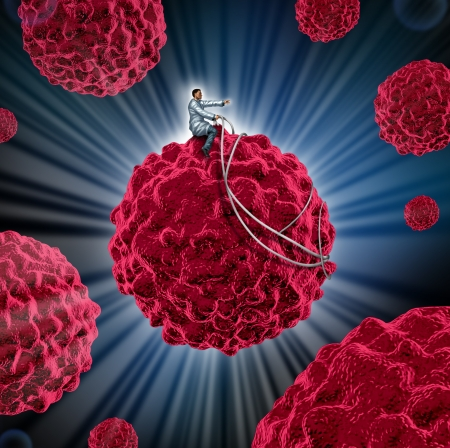 Cancer management and treatment for cancerous cells as a medcal concept with a doctor guiding a malignant cell away from the human body as a symbol of research in the treatment and prevention of the lethal disease