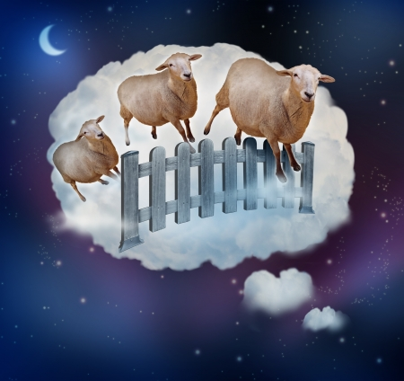 snoozing: Counting sheep concept as a symbol of insomnia and lack of sleep due to challenges in falling asleep as a group of farm animals jumping over a fence in a dream bubble as an icon of bedtime for sleepy children and tired adults.