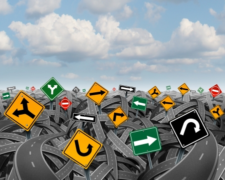business dilemma: Direction uncertainty with a landscape of confused tangled roads and highways and a group of traffic signs competing for influence as a symbol of the challenges of planning a strategy for success