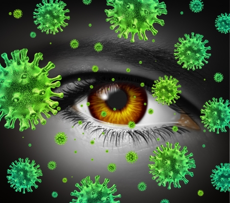 contagious: Eye infection as a contagious ocular disease transmitting a virus with human vision spreading dangerous infectious germs and bacteria during cold or flu symptoms