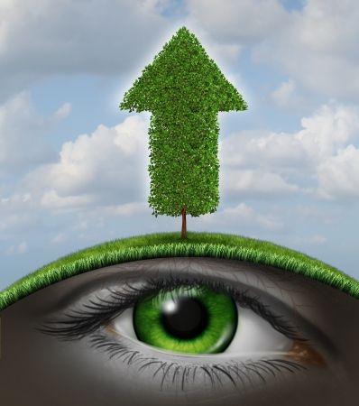 vision business: Growth vision business concept as a tree in the shape of an upward arrow and a human eye underground growing in the roots as a symbol of investment success with seed money for new financial ventures  Stock Photo
