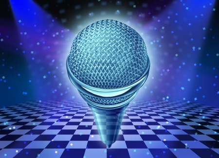 disco era: Music and dance entertainment concept as a microphone over a dancing disco club floor with as a symbol of fun and party time in a nightclub or show stage with glowing lights and wall reflections on a checkered floor  Stock Photo