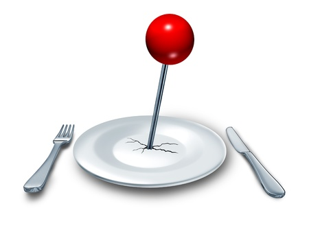 best guide: Place to eat at a restaurant or diner as a food and drink concept with a dinner plate and a place setting with fork and knife silverware on a table with a red location push pin on the dish as a symbol of eating places