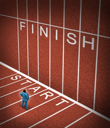 Upward climb business idea to overcome adversity with a businessman standing at the start line of a track and field path facing an obstacle to achieving a planned strategy for success and to go to the finish  photo