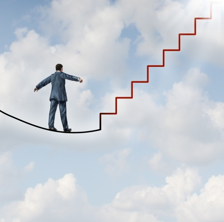 Risk solutions and adapting to change as a business idea with a businessman walking on a dangerous high wire tightrope that transforms into a red staircase leading to a clear path to future opportunity and success