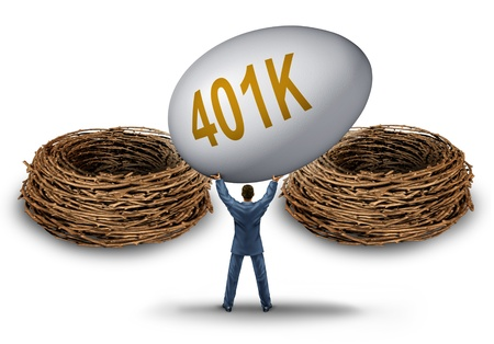 Retirement savings choice dilemma with a businessman lifting and  holding up a giant investment 401 k egg deciding on a strategy for the best nest to invest his financial golden age fund  photo