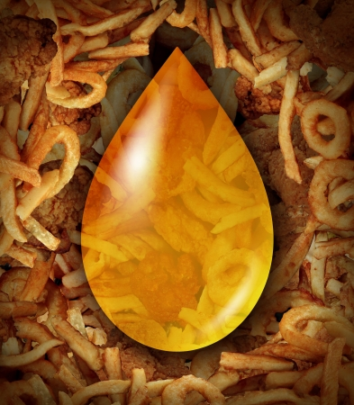 oil drop: Fried Food oil drop icon as a concept of unhealthy greasy restaurant menu items as oily fried chicken french fries onion rings as a trans fat danger to the human heart  Stock Photo