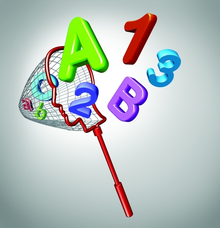 Gain knowledge and acquiring education concept with a net that is in the shape of a human head catching flying letters and numbers as a symbol of school learning for children and adult students who need help with math and reading  Stock Photo