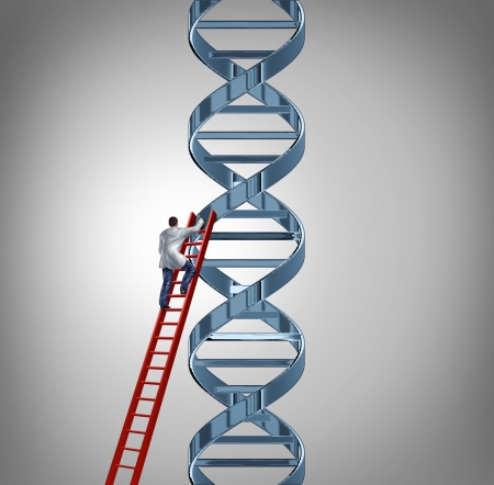 genetica: La ricerca genetica e test con un medico o scienziato che sale una scala rossa per studiare un filamento di DNA del codice genetico per aiutare a scoprire una cura per la malattia umana e la malattia come simbolo di cura medicina salute e della tecnologia medica