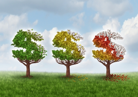 Investment loss and financial stress business concept with three trees shaped as a dollar or money symbol gradually losing leaves in an autumn theme from green to red as an idea for aging savings crisis needing a new strategy