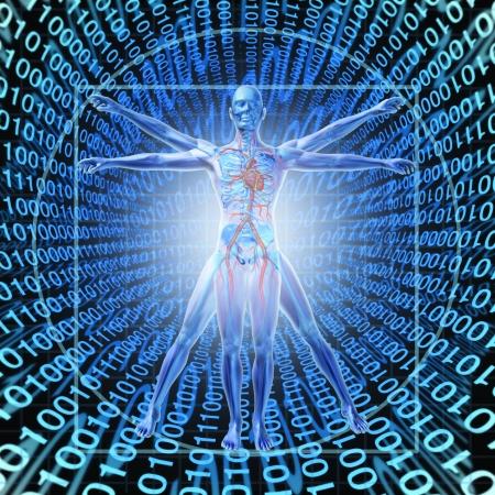 gezondheid: Medical Records Technology met een Man van Vitruvius over een achtergrond van digitale binaire code als gezondheidszorg symbool van elektronische data-opslag op een centrale server-netwerk beschikbaar in de cloud voor een ziekenhuis of kliniek patiënt gemak Stockfoto