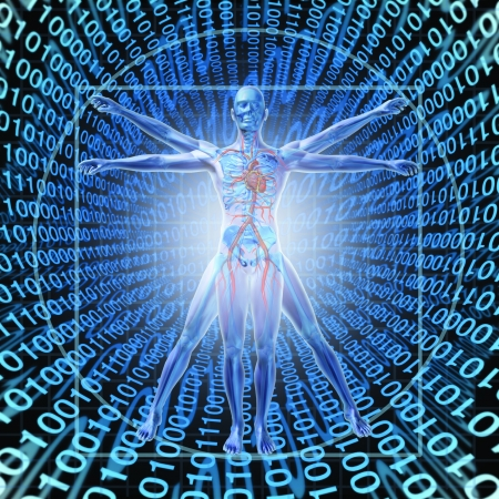 Medical Records Technology with a vitruvian man over a background of digital binary code as a health care symbol of electronic data storage at a central server network available in the cloud for a hospital or clinic patient convenience