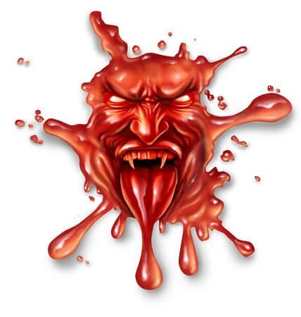 devil: Scary blood with an evil halloween vampire character splattered and dripping on a white background as a spooky symbol of danger and fear as paranormal fantasy icon