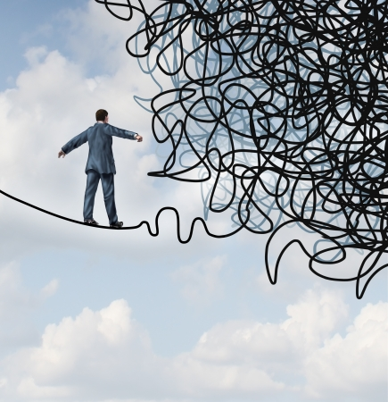 confusion: Risk confusion business concept with a businessman on a high wire tight rope walking towards a tangled mess as a metaphor and symbol of overcoming adversity in strategy and finding solutions through skilled leadership facing  difficult obstacles