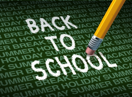 Return and going back to school with a pencil eraser erasing the words against a background of summer holiday vacation break pattern as a symbol of education and the start of the school year for learning  photo
