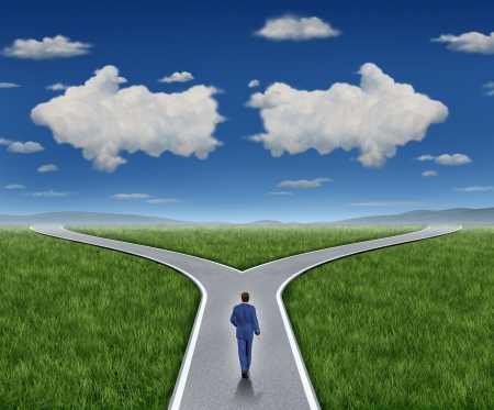 financial questions: Business guidance questions and career path as a business person walking to a crossroad highway with two clouds shaped as arrows pointing in opposite directions on a blue summer sky and grass representing financial advice guide and looking for answers