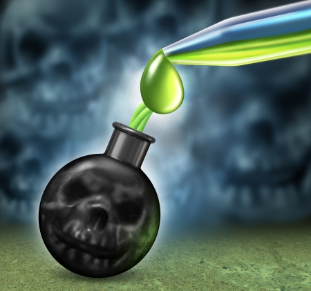 Chemical weapons concept with a bomb as a human death skull being filled using an eye droper with dangerous poison as nerve or mustard gas as a symbol of a weapon of mass destruction as a war crime with smoke shaped as evil skulls Stock Photo - 21971120