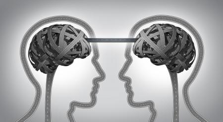 Richting communicatie business concept voor het bouwen van een brug tussen twee teamleden met symbolen van menselijke hoofden en hersenen gemaakt van verwarde wegen en snelwegen samen met een straat verbonden als een icoon van eenheid en overeenstemming succes