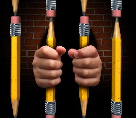 preso: Acceso a la educaci�n y inaccessiblity aprender en una buena escuela debido a la falta de financiaci�n para los programas de aprendizaje en las escuelas p�blicas y no las instituciones privadas Foto de archivo