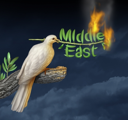 middle east crisis: Global middle east crisis with a white peace dove holding a burning olive branch on a stormy night sky as a concept of war and failed diplomacy in the persian gulf with countries as Iran Israel Egypt Libya Kuwait Syria Saudi Arabia  Stock Photo