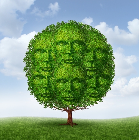 Growing community group as a tree with green leaves shaped as a connected network of human heads as a social partnership working together for a common strategy to grow as a strong successful organized team