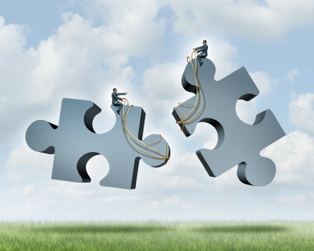 teamwork together: Managing a partnership as an agreement or contract to work together for financial success as two business people steering with a harness giant jigsaw puzzle pieces as a concept of team cooperation
