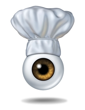 restaurant rating: Watching your diet and food critic andas a restaurant health inspector concept with a human eye ball wearing a chef hat as a dieting guide icon and a symbol of cooking lessons or gourmet cuisine guidance on a white background