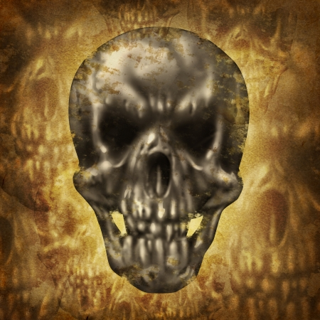 living skull: Spooky huan skull concept on an old dirty grunge background on parchment paper texture as a fantasy halloween symbol of zombies and ghosts  Stock Photo