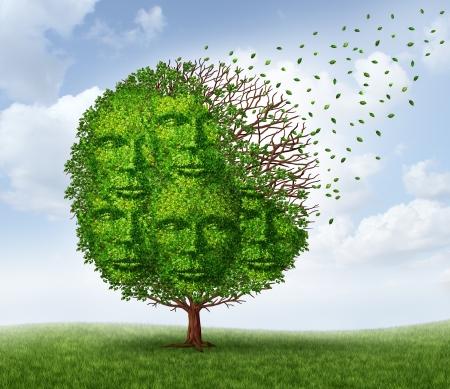 comunicarse: La p�rdida de la Comunidad y la p�rdida de relaciones sociales como un negocio y el concepto de estilo de vida con un �rbol verde que est� perdiendo las hojas como en la temporada de oto�o en forma de un grupo de cabezas humanas