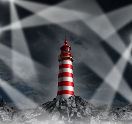 Confused strategy and lost guidance with multiple direction options as a concept of confusion in business  life and financial planning challenges as a group of tangled light beams in many directions confusing a single dark and dim light house  Stock Photo - 22141085