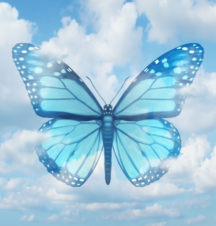 Creative inspiration and aspirations concept with a blue monarch butterfly in a sky background as a spiritual idea of hope  learning and freedom as an icon of rebirth and renewal  Фото со стока