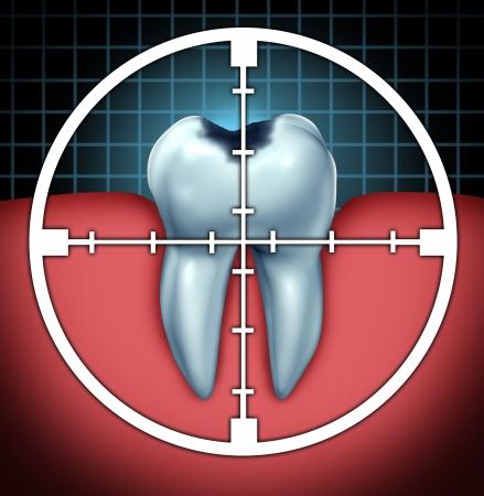 Lucha contra las caries como la cavidad del diente cerca símbolo con un icono de destino con el objetivo de la enfermedad oral como un concepto de cuidado de la salud para la anatomía ósea como una cura y terapia dentista para la descomposición y putrefacción debido a las bacterias y los ácidos Foto de archivo - 22141088
