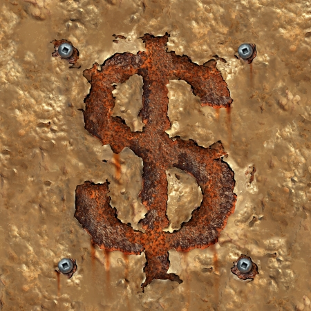 rusting: Financial Corruption and business Failure concept as old decaying and rusting metal with aging flaking paint in the shape of a dollar symbol or money icon as an idea of an old economy and budget and finance problems