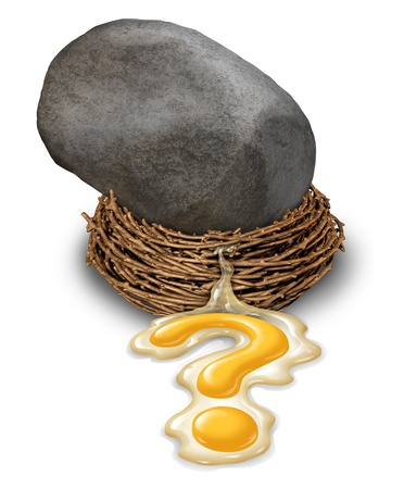 retirement savings: Financial impact concept as a nest egg disaster with a large boulder or rock that has fallen and crushed a retirement savings fund with the yolk pouring out in the shape of a question mark as a business symbol of investment risk