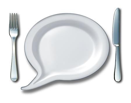 다이어트와 영양 아이디어의 상징으로 포크와 나이프 테이블 설정 만화책 통신 아이콘으로 모양의 흰색 빈 세라믹 주방 접시와 단어 거품 또는 토크  스톡 콘텐츠