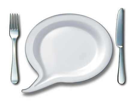 speach: Food talk concept with a word bubble or talk speach message with a white blank ceramic kitchen plate shaped as a comic book communication icon with a fork and knife table setting as a symbol of diet and nutrition ideas  Stock Photo