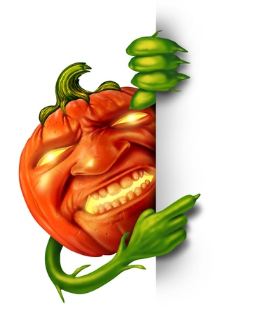Halloween character sign as a pumpkin with human expression and green plant hands holding a vertical blank banner sign as a jack o lantern Halloween message with a scary expression for autumn on a white background  photo