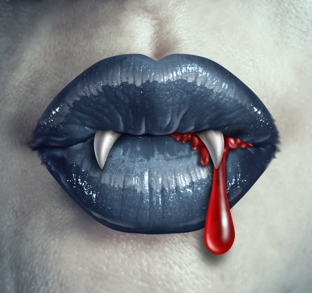 Horror Vampire bloody teeth and fangs with a gothic style female with black lips and human liquid blood dripping from the mouth against ghost like white skin as a demon concept and Halloween symbol of mystery and spooky fantasy Stock Photo - 22141094
