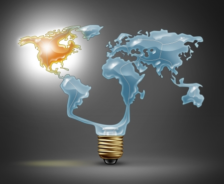 North America recovery with a light bulb in the shape of the world map representing the global economy with the northern American continent illuminated with a shinning glow as a symbol of economic success  Stock Photo - 22141098