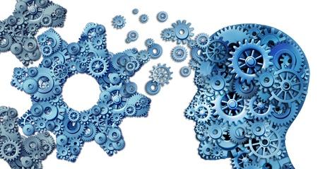onderwijs: Het plannen van een bedrijf met behulp van intelligente leiderschap strategieën als een menselijk hoofd vorm gemaakt met met tandwielen en radertjes het opbouwen van een organisatie symbool gevormd als grote tandwielen op wit Stockfoto