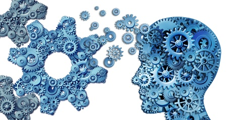 higher intelligence: Planning a business using intelligent leadership strategies as a human head shape made with with gears and cogs building an organization symbol shaped as large cog wheels on white  Stock Photo