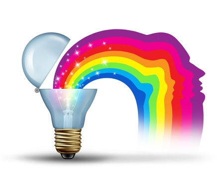 inspirations: Power of innovation and freedom of visionary leadership as a creativity concept for unleashing and expressing new ideas as a light bulb opening up to reveal a sparkling rainbow in the shape of a human head on a white background