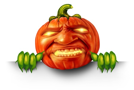Pumpkin character with green plant hands holding a blank banner sign as a jack o lantern Halloween message with a scary expression as an orange holiday symbol with magical glowing candle light on a white background  photo