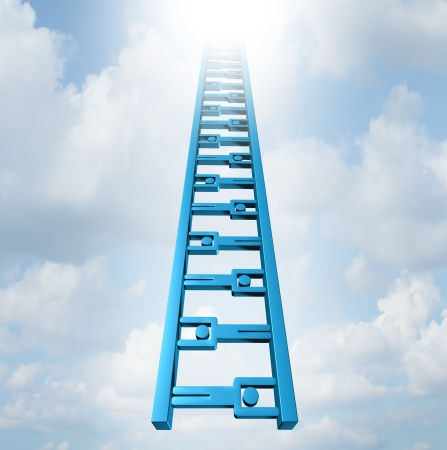 working: Team ladder of opportunity and group support success as a staircase made of business people icons working together as recruiment possibilities to move high up to infinity as a concept of achievement and strategic teamwork planning