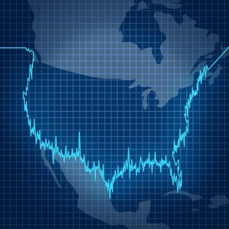 volatility: Mercado de valores estadounidense con un diagrama gr�fico inversi�n financiera en la forma de la geograf�a de los Estados Unidos como s�mbolo de valor fluctuante de los saldos de inversi�n y las estad�sticas de las empresas de la econom�a