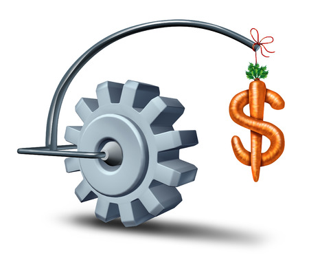 Los incentivos comerciales como metáfora financiera con un palo y una zanahoria en forma de signo de dólar que conducen un engranaje o rueda dentada hacia la riqueza y la fortuna como símbolo de incentivos que motivan y atraen nuevas inversiones para el crecimiento futuro